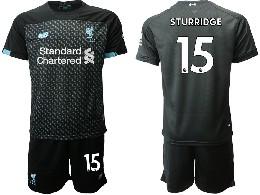 Mens 19-20 Soccer Liverpool Club #15 Sturridge Black Second Away Short Sleeve Suit Jersey