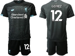 Mens 19-20 Soccer Liverpool Club #12 Gomez Black Second Away Short Sleeve Suit Jersey