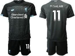 Mens 19-20 Soccer Liverpool Club #11 M.salah Black Second Away Short Sleeve Suit Jersey