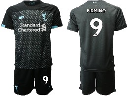 Mens 19-20 Soccer Liverpool Club #9 Firmino Black Second Away Short Sleeve Suit Jersey