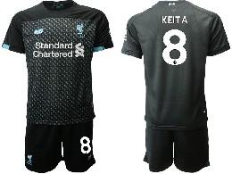 Mens 19-20 Soccer Liverpool Club #8 Keita Black Second Away Short Sleeve Suit Jersey