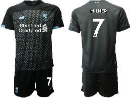 Mens 19-20 Soccer Liverpool Club #7 Milner Black Second Away Short Sleeve Suit Jersey
