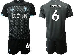Mens 19-20 Soccer Liverpool Club #6 Lovren Black Second Away Short Sleeve Suit Jersey