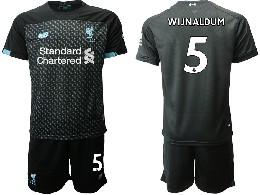 Mens 19-20 Soccer Liverpool Club #5 Wijnaldum Black Second Away Short Sleeve Suit Jersey