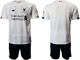 Mens 19-20 Soccer Liverpool Club ( Blank ) White Away Short Sleeve Suit Jersey