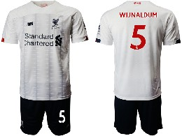 Mens 19-20 Soccer Liverpool Club #5 Wijnaldum White Away Short Sleeve Suit Jersey