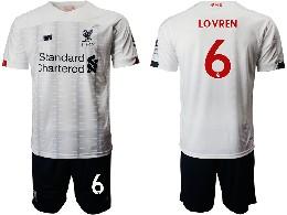 Mens 19-20 Soccer Liverpool Club #6 Lovren White Away Short Sleeve Suit Jersey