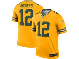 Mens Nfl Green Bay Packers #12 Aaron Rodgers Gold Nike Inverted Legend Jersey