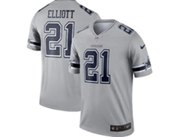 Mens Nfl Dallas Cowboys #21 Ezekiel Elliott Gray Nike Inverted Legend Jersey