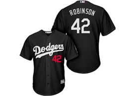 Mens Mlb Los Angeles Dodgers #42 Ackie Robinson Black Inverted Legend Cool Base Jersey